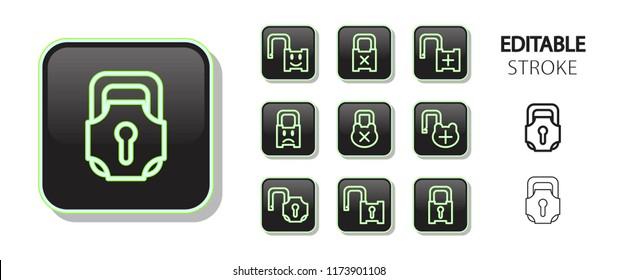 Lock, padlock, unlock buttons. Neon icon set. Glossy web application icons. Editable stroke. Vector illustration.