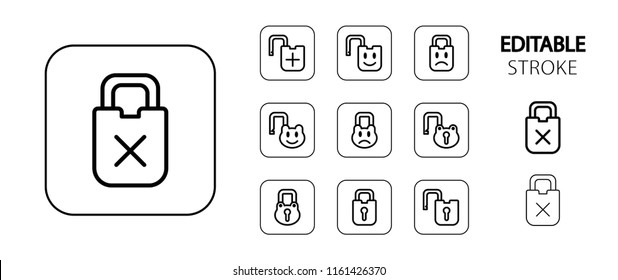 Lock, padlock, unlock icon set. Simple outline web icons. Editable stroke. Vector illustration.