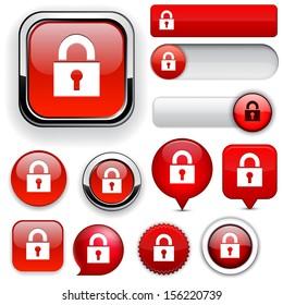 Lock red design elements for website or app. Vector eps10.