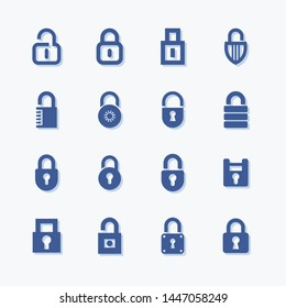 Lock and security flat vector icon set.