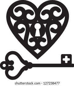 lock shaped heart and skeleton key