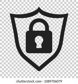 Lock with shield security icon. Vector illustration on isolated transparent background. Business concept padlock pictogram.