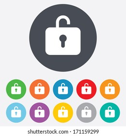 Lock sign icon. Login symbol. Round colourful 11 buttons. Vector