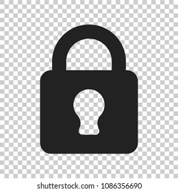 Lock sign vector icon. Padlock locker illustration. Business concept simple flat pictogram on isolated transparent background.