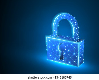 Lock symbol abstract neon 3d illustration. Polygonal Vector business concept of security, password, privacy. Low poly wireframe, geometry triangle, lines, dots, polygons on blue background