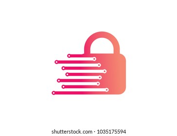 Lock Tech Logo Design Template, Element Design, Vector Design