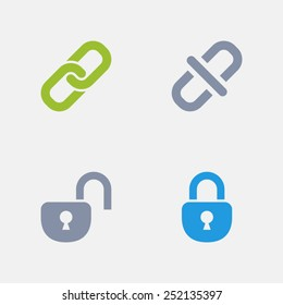 Lock & Unlock Icons. Granite Icon Series. Simple glyph style icons designed on a 32x32 pixel grids.