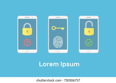 Lock and unlock smartphone, fingerprint to open the lock, access to information key, flat vector illustration, blue, white, yellow, red, green, registration, closed