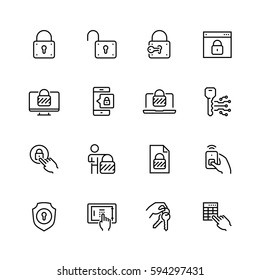 Lock and unlock vector icon set in thin line style