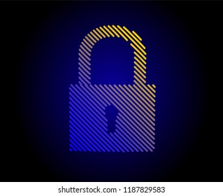 Lock. Vector drawn by color lines. Security, safe, privacy or other concept illustration or background. Template brochures, flyers, presentations, logo, print, leaflet, banners, icon