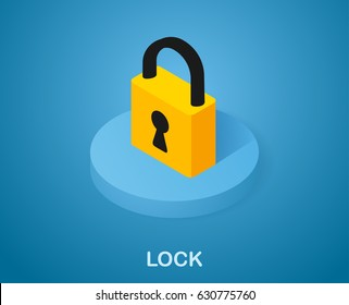 Lock vector icon in isometric. Illustration 3d style on blue background
