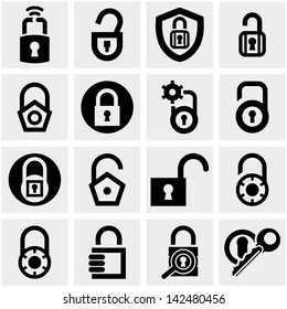 Lock vector icons set on gray.
