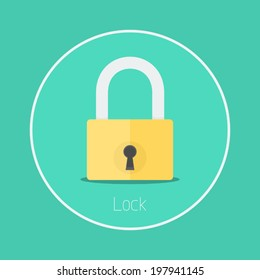 Lock : Vector padlock icon flat design