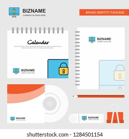 Locked computer Logo, Calendar Template, CD Cover, Diary and USB Brand Stationary Package Design Vector Template