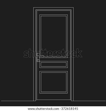 Locked Door Leaf Drawing White Lines Stock Vektorgrafik Lizenzfrei