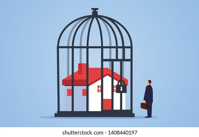 Locked house inside the cage