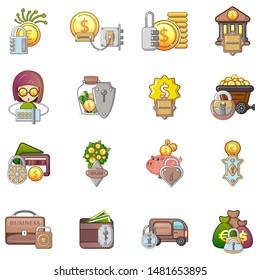 Locked money icons set. Cartoon set of 16 locked money vector icons for web isolated on white background