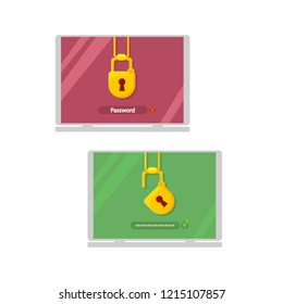 Locked and opened laptop, login security concept vector flat cartoon illustration isolated on white background