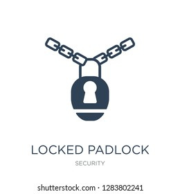 locked padlock with chain icon vector on white background, locked padlock with chain trendy filled icons from Security collection, locked padlock with chain vector illustration