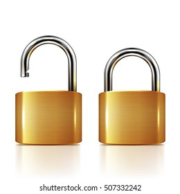 Locked and unlocked Padlock isolated on white