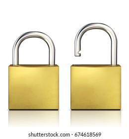 Locked and unlocked Padlock isolated on white