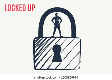 LOCKED UP. The little man is standing on the big lock, which is locked with a key. Vector lifestyle concept illustration, hand drawn sketch. Children's drawing