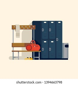Locker or changing room interior in flat vector design. Gym or fitness center dressing room with lockers, bench, hooks, shoes and gym bag isolated