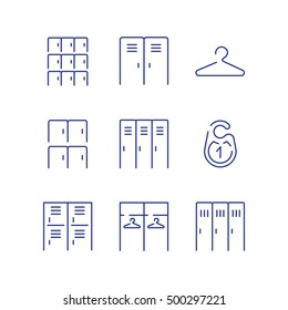 Locker icon set. Simple checkroom icon set. Spot icons. Navigation room sign. Modern vector plain simple thin line design icons and pictograms set. Vector illustration.
