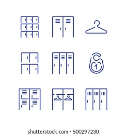 Locker icon set. Simple checkroom icon set. Spot icons. Navigation room sign. Modern vector plain simple line design icons and pictograms set. Vector illustration.