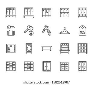 Locker room flat line icons set. Gym, school lockers, automatic left-luggage office, key tag vector illustrations. Outline pictogram personal belongings storage. Pixel perfect. Editable Strokes.