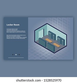 Locker Room. Isometric interior building with 3d images. Isometric illustration design for interiors, buildings, room and more.
