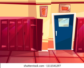 Locker room vector illustration of gym or school sport changing room. Cartoon seamless row of individual lockers and entrance door for parallax or computer games background template