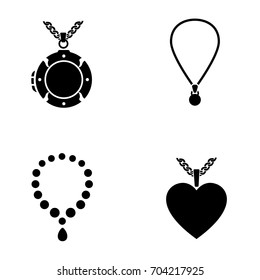 Lockets and necklaces vector icons