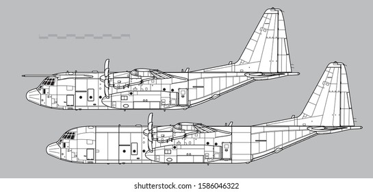 Lockheed C-130J Super Hercules. Vector drawing of transport aircraft. Side view. Image for illustration.