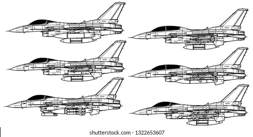 Lockheed Martin F-16 FIGHTING FALCON. Outline vector drawing