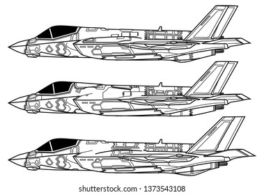 Lockheed Martin F-35 Lightning II. Outline vector drawing
