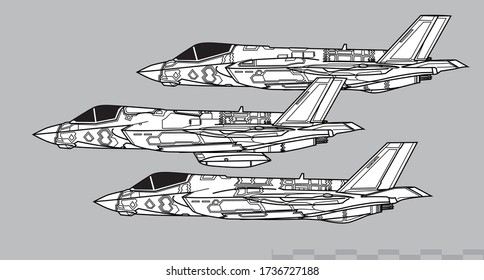 Lockheed Martin F-35 Lightning II. F-35A, F-35B, F-35C. Vector drawing of stealth multirole fighter . Side view. Image for illustration and infographics
