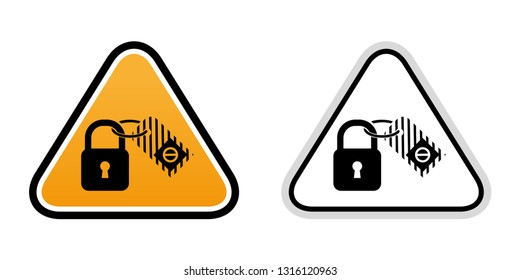 Lockout tagout lock mark icon. Vector graphics.