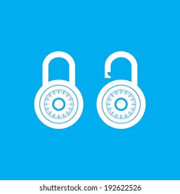 Locks icon on blue background - Vector