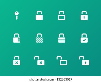Locks icons on green background. Vector illustration.