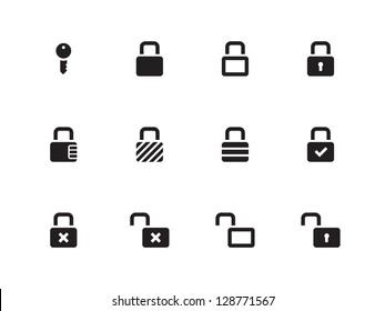 Locks Icons on white background. Vector illustration.