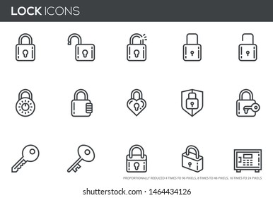 Locks vector line icons set. Keys, padlocks, safe deposit. Editable stroke. Perfect pixel icons, such can be scaled to 24, 48, 96 pixels.