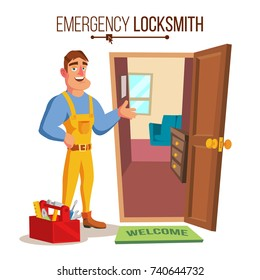 Locksmith Repairman Vector. Unlock The Door Service. Cartoon Character Illustration