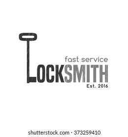 Locksmith vector logo, icon, symbol, emblem, sign. Illustration of key