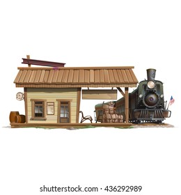 The locomotive arrived on the platform isolated on white background. Vector cartoon close-up illustration.