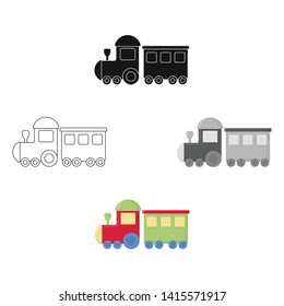 Locomotive cartoon,black icon. Illustration for web and mobile design.