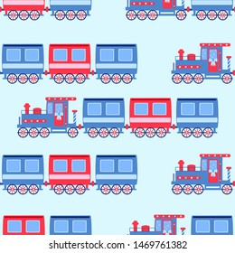 locomotive with colorful cars, children's bright seamless pattern. vector illustration on a blue background