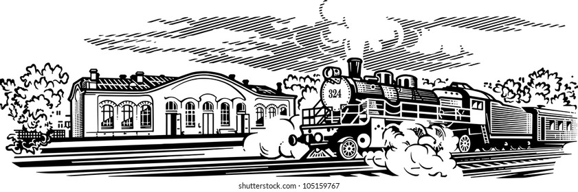 Locomotive engrawing picture. Vector illustration
