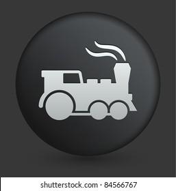 Locomotive Icon on Round Black Button Collection Original Illustration