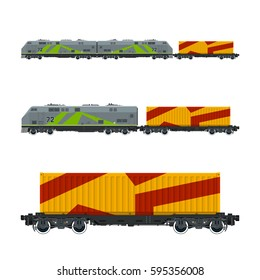 Locomotive with Orange Cargo Container on Railroad Platform , Train , Railway and Container Transport, Vector Illustration